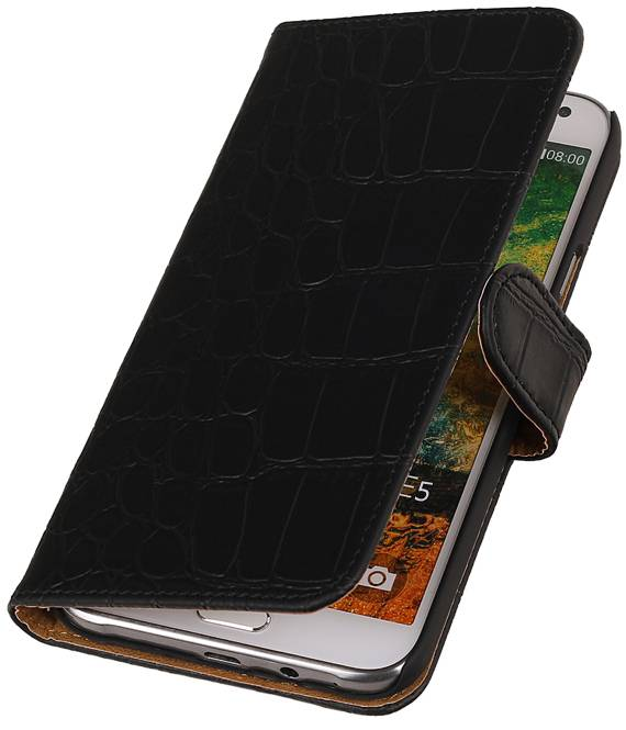 Samsung Galaxy E5 Zwart | Croco bookstyle / book case/ wallet case Hoes  | WN™ - hoesjeshoek