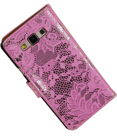 Samsung galaxy a7 2015 Roze | Lace bookstyle / book case/ wallet case Hoes  | WN™ - hoesjeshoek