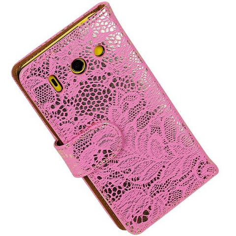 Huawei Huawei Ascend G630 Roze | Lace bookstyle / book case/ wallet case Hoes  | WN™ - hoesjeshoek