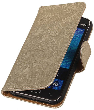 Samsung galaxy j1 2015 J100F Goud | Lace bookstyle / book case/ wallet case Hoes  | WN™ - hoesjeshoek