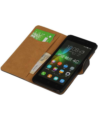 Huawei Honor 4C Zwart | bookstyle / book case/ wallet case Hoes  | WN™ - hoesjeshoek