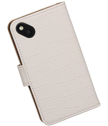 Wiko Sunset 2 Wit | Croco bookstyle / book case/ wallet case Hoes  | WN™ - hoesjeshoek