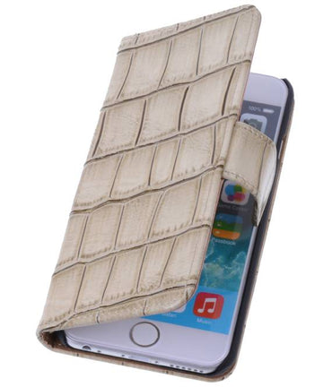 iPhone 6 Beige | Glans Croco bookstyle / book case/ wallet case Hoes  | WN™ - hoesjeshoek