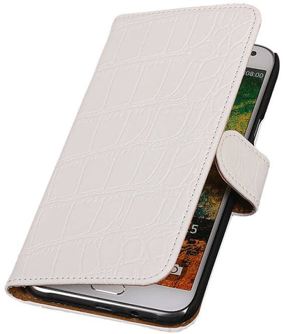 Samsung Galaxy E5 Wit | Croco bookstyle / book case/ wallet case Hoes  | WN™ - hoesjeshoek