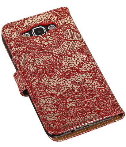Samsung Galaxy E5 Rood | Lace bookstyle / book case/ wallet case Hoes  | WN™ - hoesjeshoek