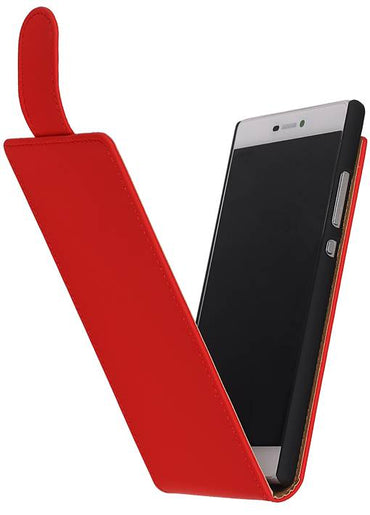 Alcatel One Touch M'pop OT-5020 Rood | Classic Flip Hoes  | WN™ - hoesjeshoek