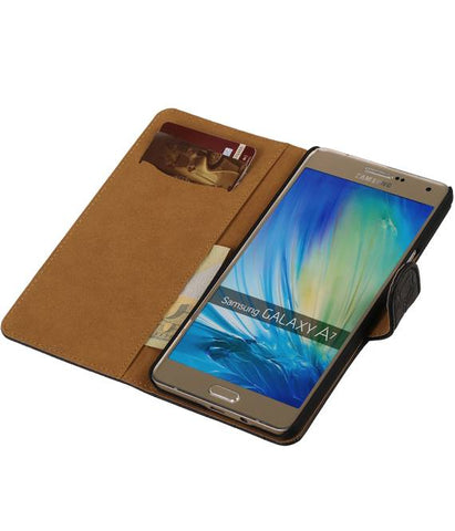 Samsung galaxy a7 2015 Zwart | Croco bookstyle / book case/ wallet case Hoes  | WN™ - hoesjeshoek