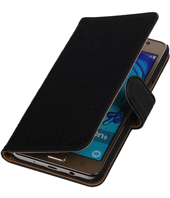 Samsung Galaxy On 5 Zwart | Croco bookstyle / book case/ wallet case Hoes  | WN™ - hoesjeshoek