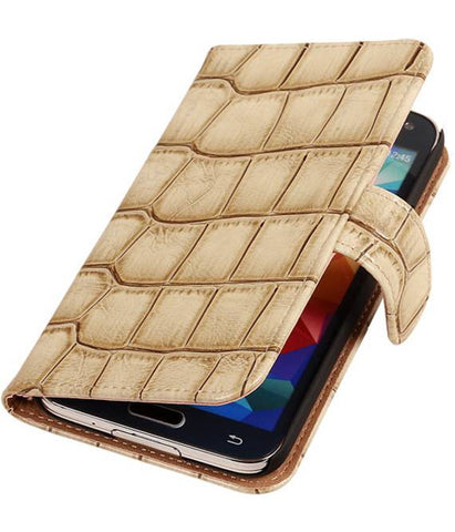 Grand Neo i9060 Beige | Glans Croco bookstyle / book case/ wallet case Hoes  | WN™ - hoesjeshoek