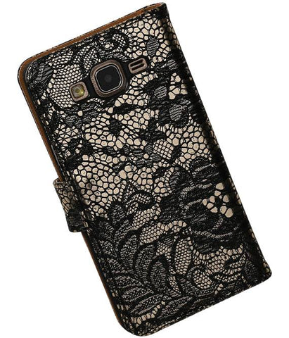 Samsung Galaxy On 5 Zwart | Lace bookstyle / book case/ wallet case Hoes  | WN™ - hoesjeshoek