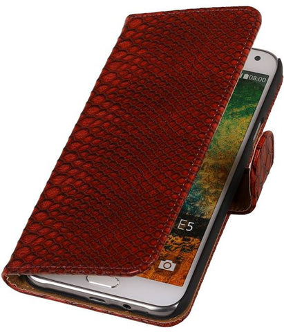 Samsung Galaxy E5 Rood | Snake bookstyle / book case/ wallet case Hoes  | WN™ - hoesjeshoek