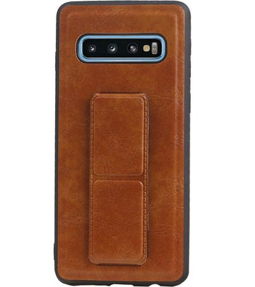 Samsung Samsung Galaxy S10 Bruin | Grip Stand Hardcase Backcover  | WN™ - hoesjeshoek