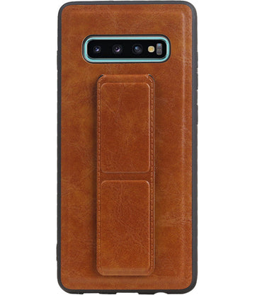 Samsung Samsung Galaxy S10 Plus Bruin | Grip Stand Hardcase Backcover  | WN™ - hoesjeshoek