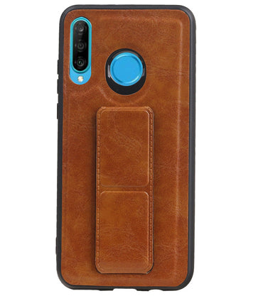 Huawei P20 Lite Bruin | Grip Stand Hardcase Backcover  | WN™ - hoesjeshoek