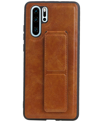 Huawei P30 Pro Bruin | Grip Stand Hardcase Backcover  | WN™ - hoesjeshoek
