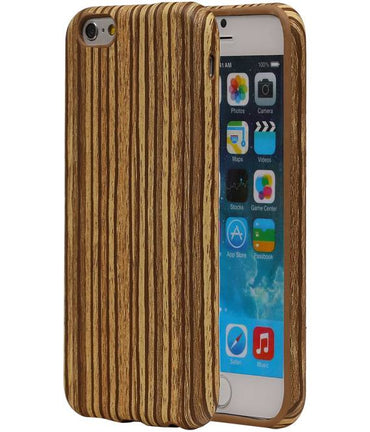 iPhone 6/s Beige | Verticale Strepen Houtlook TPU Hoes  | WN™ - hoesjeshoek