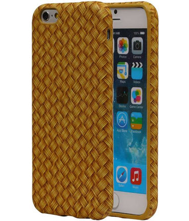 iPhone 6/s Geld | Geweven Houtlook TPU Hoes  | WN™ - hoesjeshoek
