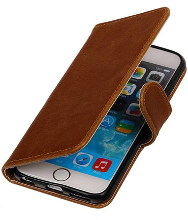 iPhone 6/s Bruin | Premium TPU PU Leder bookstyle / book case/ wallet case  | WN™ - hoesjeshoek