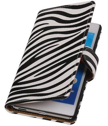 sony Xperia M5 Wit | Zebra bookstyle / book case/ wallet case Hoes  | WN™ - hoesjeshoek