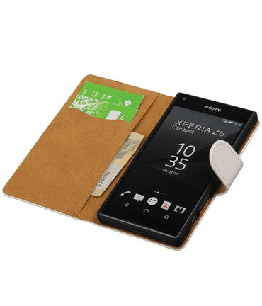 sony Xperia Z5 Compact Wit | bookstyle / book case/ wallet case Hoes  | WN™ - hoesjeshoek