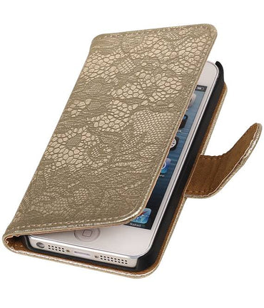 iPhone 6 Goud | Lace bookstyle / book case/ wallet case Hoes  | WN™ - hoesjeshoek