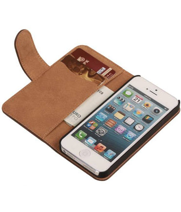 iPhone 6 Donker Bruin | Bark bookstyle / book case/ wallet case Hoes  | WN™