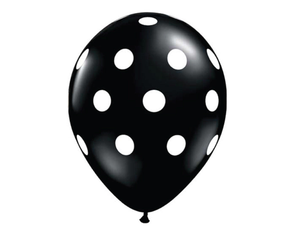 "Black Polka Dot 11"" Balloons - Set of 6 - Undercover Hostess - 1"
