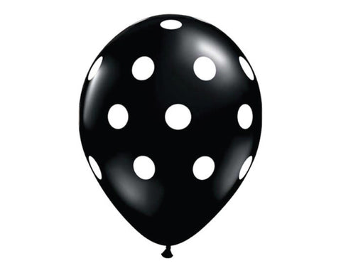 "Black Polka Dot 11"" Balloons - Set of 6"