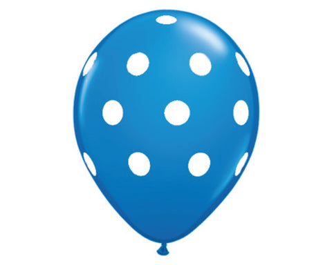 "Dark Blue Polka Dot 11"" Balloons - Set of 6"