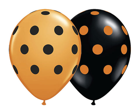 "Orange and Black Polka Dot 11"" Balloons - Set of 6"