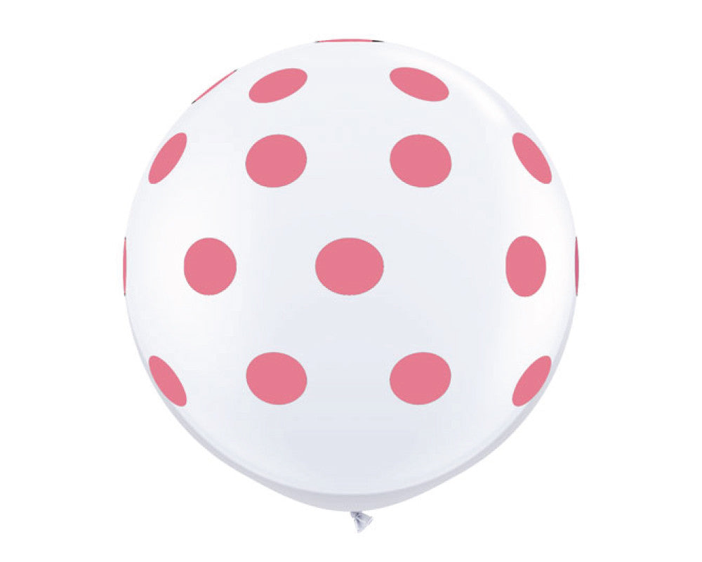 "White with Rose Pink Polka Dots 36"" Balloon - Undercover Hostess - 1"