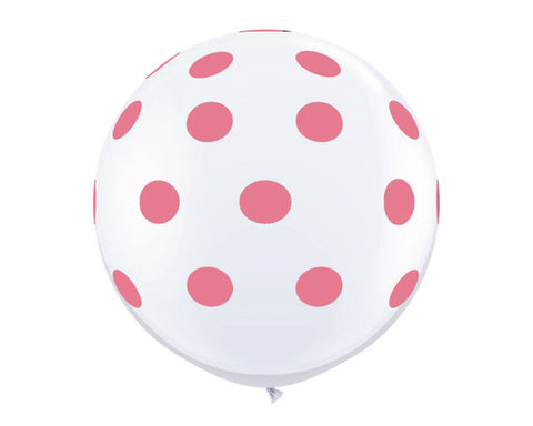 "White with Rose Pink Polka Dots 36"" Balloon"