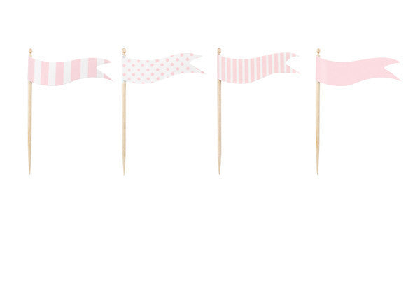 Pink Flag Cupcake Toppers - Undercover Hostess