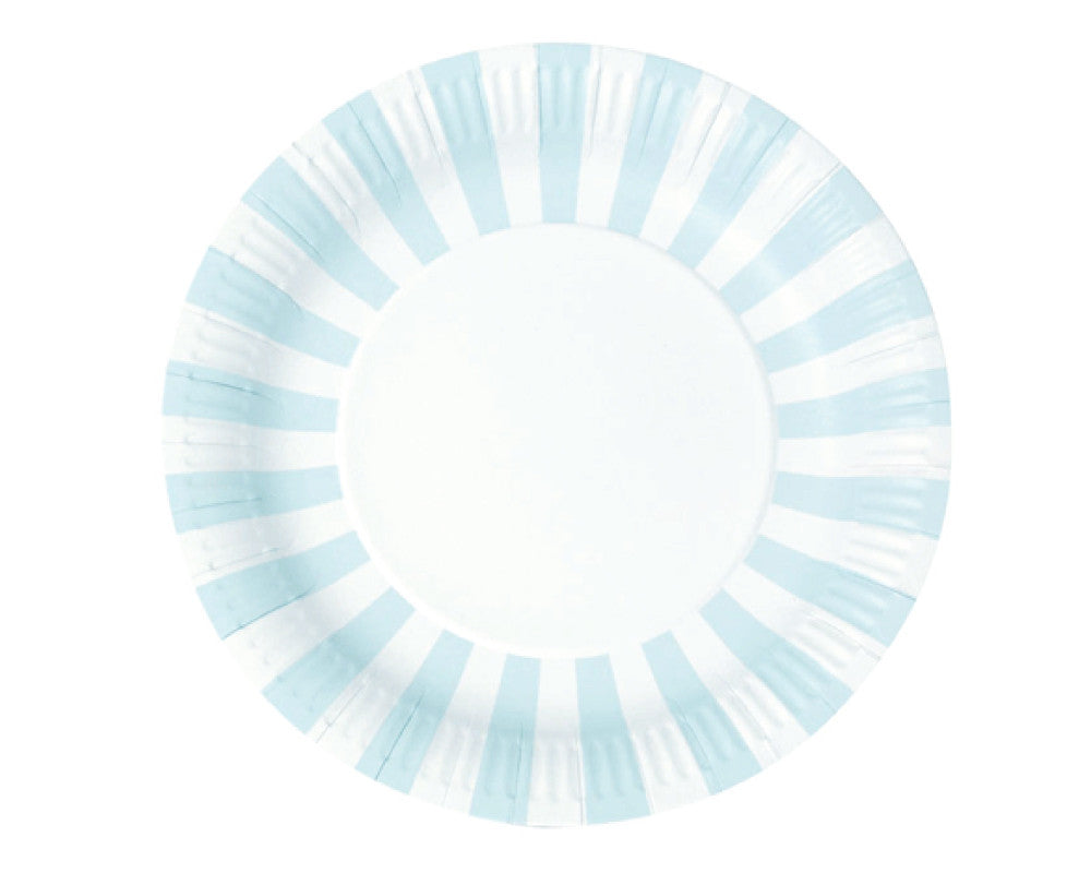Baby Blue Stripe Paper Plates - Undercover Hostess