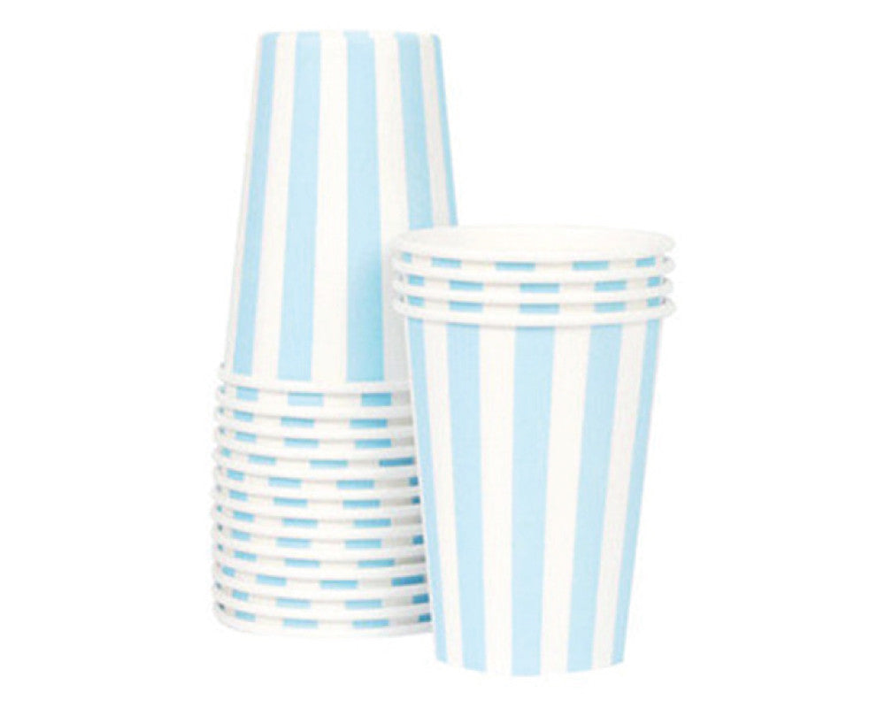 Baby Blue Stripe Paper Cups - Undercover Hostess