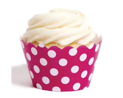 Bright Pink Polka Dot Cupcake Wrappers