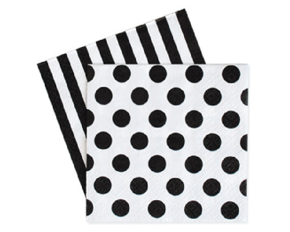 Black Polka Dot & Stripes Napkins - Undercover Hostess