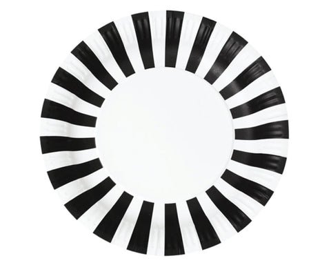 Black Stripe Paper Plates