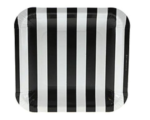 Black Stripe Square Dessert Plates