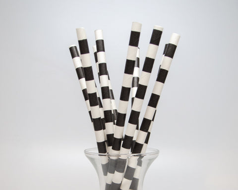 Black Horizontal Striped Straws
