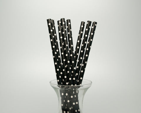 Black Polka Dot Straws