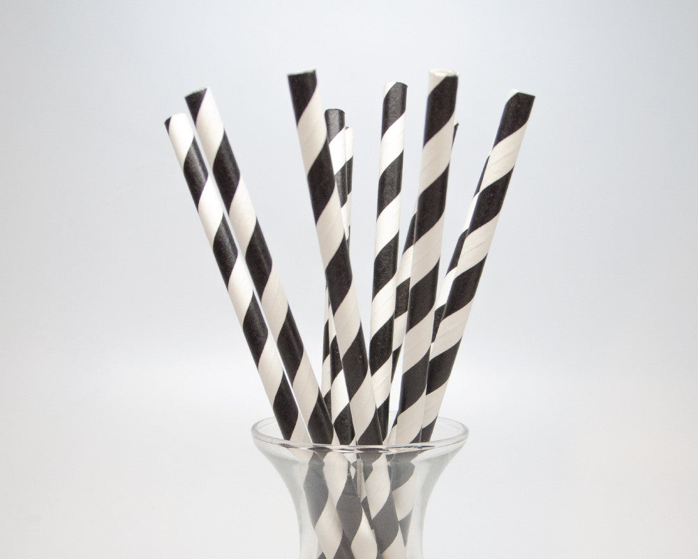 Black Striped Straws - Undercover Hostess
