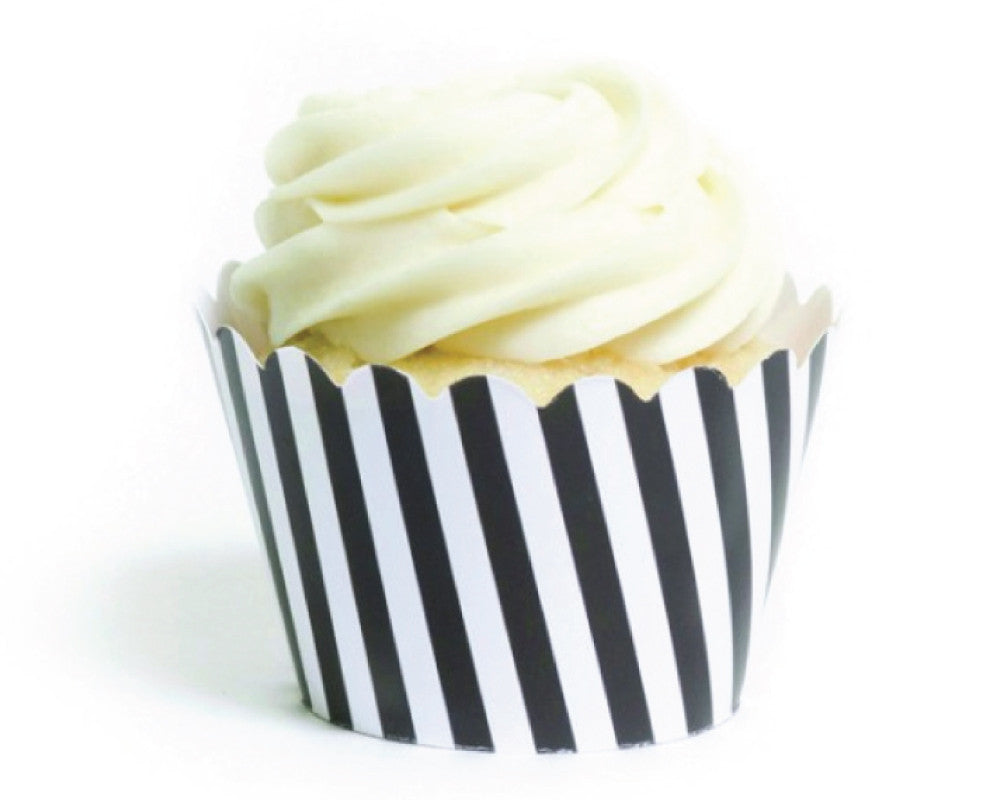 Black & White Striped Cupcake Wrappers - Undercover Hostess