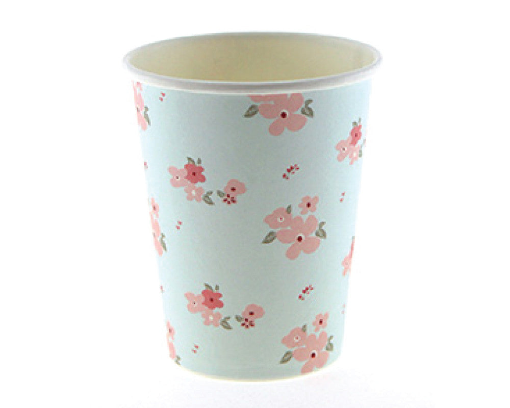 Blue and Pink Floral Paper Cups - Undercover Hostess - 1