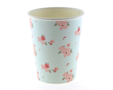 Blue and Pink Floral Paper Cups