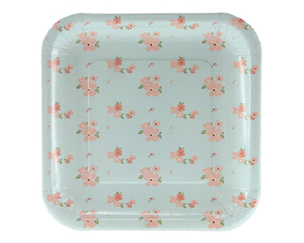 Blue and Pink Floral Dessert Plates - Undercover Hostess