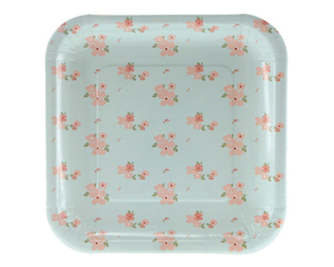 Blue and Pink Floral Dessert Plates