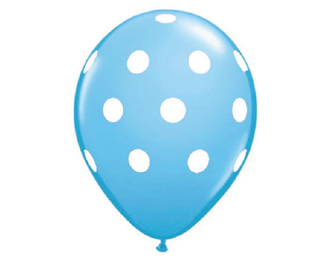 "Light Blue Polka Dot 11"" Balloons - Set of 6"