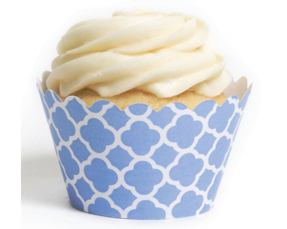 Blue Spanish Tile Cupcake Wrappers - Undercover Hostess