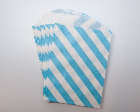 Small Blue Stripe Favor Bag
